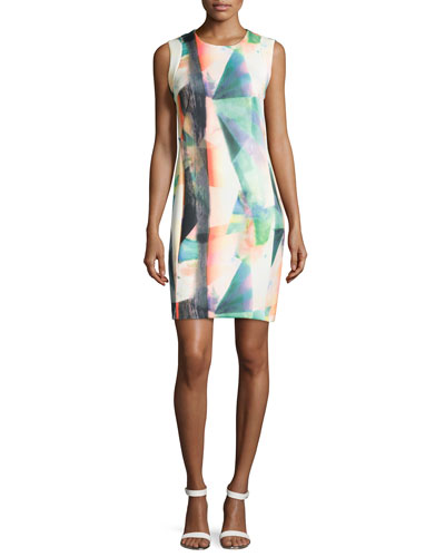 Sleeveless Printed Scuba Dress
