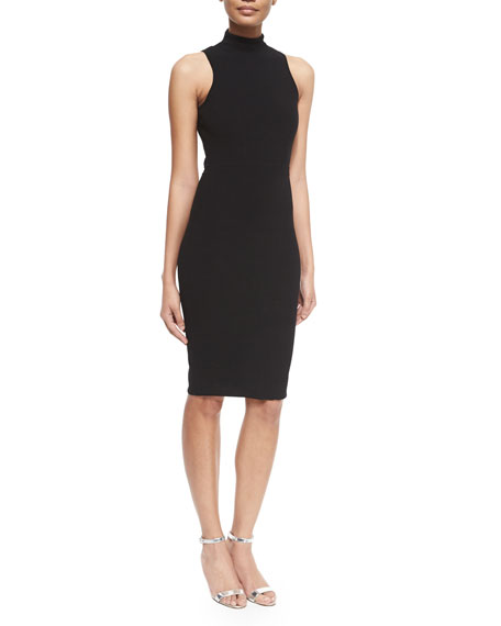 Sleeveless Turtleneck Sheath Dress, Black
