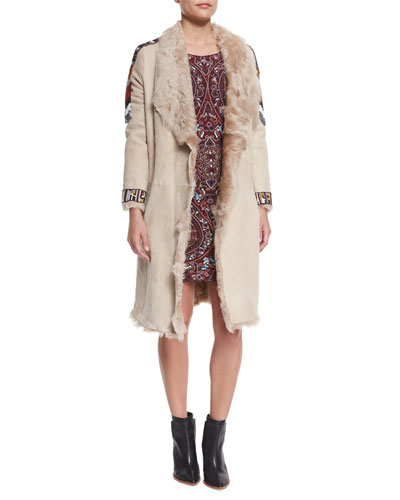Curly Beaded Shearling-Lined Suede Coat