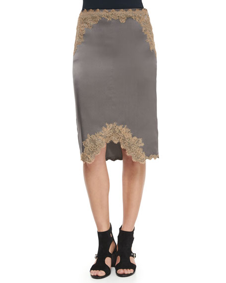 Izabella Lace-Trim Silk Skirt, Brushed Nickel