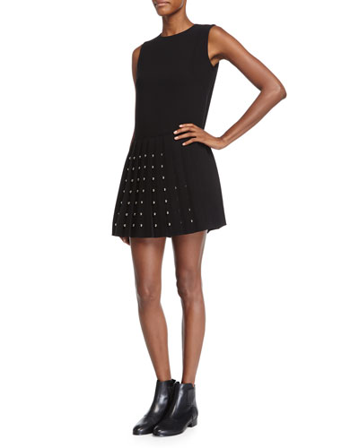 Sleeveless Studded Pleated Dress, Black