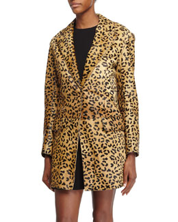 Leopard-Print Calf-Hair Coat, Tan