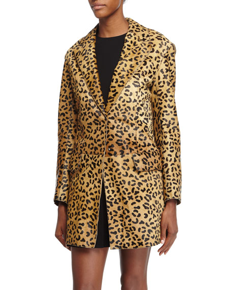 McQ Alexander McQueen Leopard-Print Calf-Hair Coat, Tan