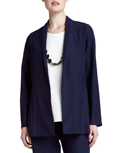Long Washable Crepe Shawl-Collar Jacket, Navy, Women