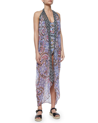 Tropical Topaz Sleeveless Kimono Coverup