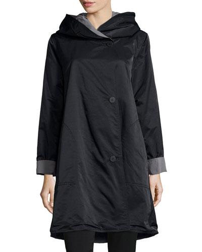 Reversible Hooded Rain Coat, Black/Pewter, Petite