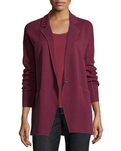Notched-Collar Interlock One-Button Jacket, Petite