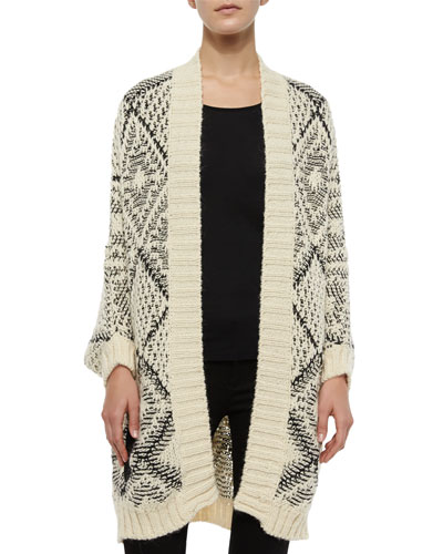 Kersten Open-Front Diamond Cardigan, Cream/Black