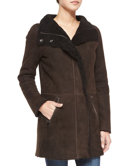 Goes Shearling Coat with Curly Fur Detail