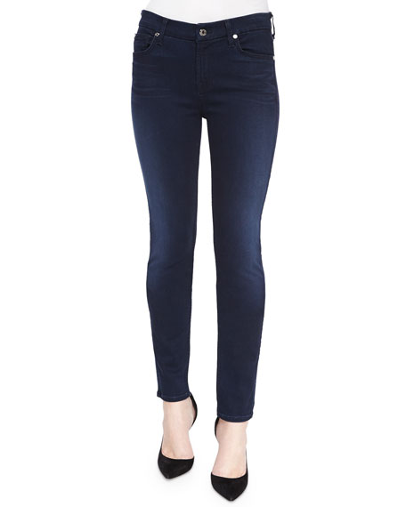 7 For All Mankind Mid Rise Skinny Jeans, Slim Illusion Luxe Rich ...