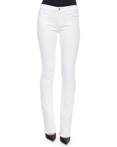 Skinny Boot-Cut Denim Jeans, White