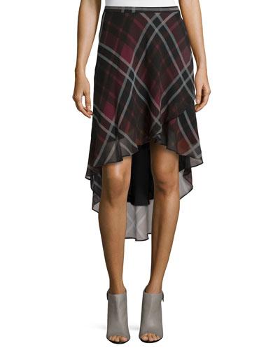 Plaid Silk High-Low Skirt, Burgundy Multi