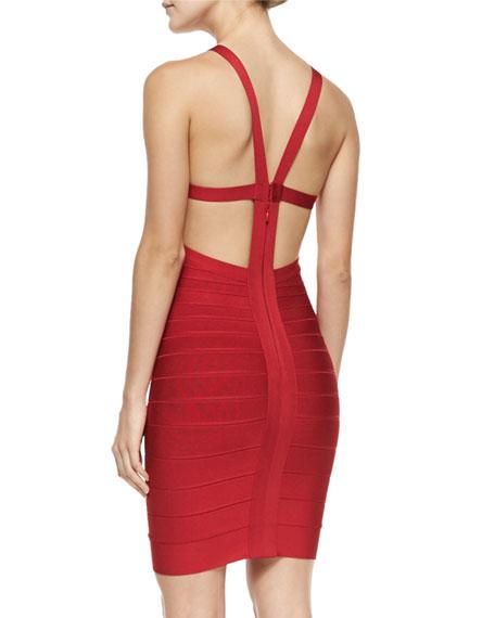 Cutout-Back Halter Bandage Dress