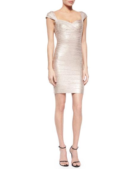 Herve Leger Cap-Sleeve Shimmer Bandage Dress