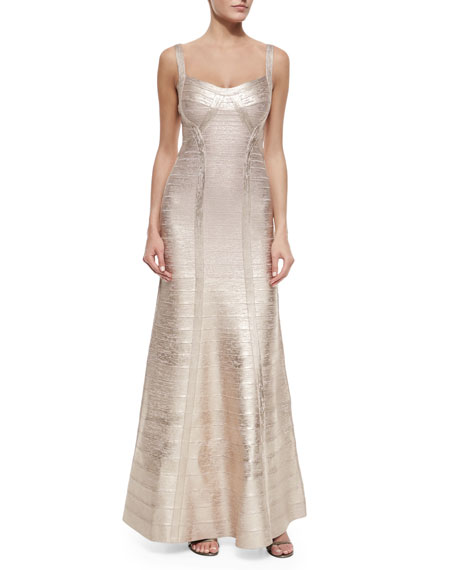 Herve Leger Wide-Strap Metallic Bandage Gown