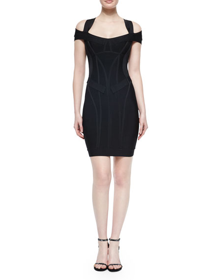 Herve Leger Off-The-Shoulder Double-Sleeve Dress, Black