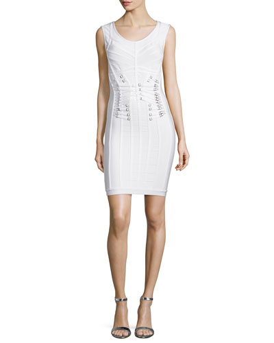 Sleeveless Scoop-Neck Dress, Alabaster