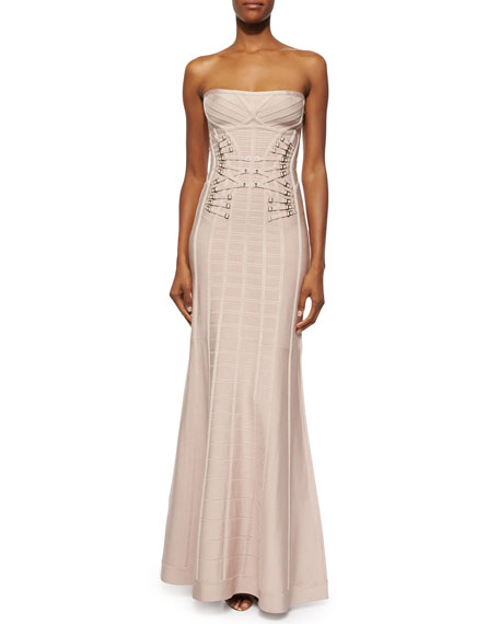Herve Leger Strapless Garter-Detail Mermaid Gown