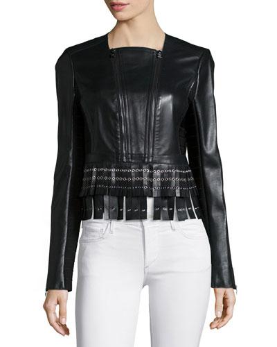 Leather Fringe Zip Jacket, Black