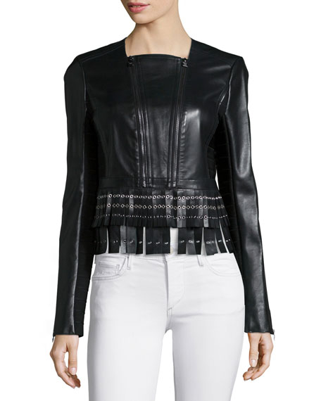 Herve Leger Leather Fringe Zip Jacket, Black