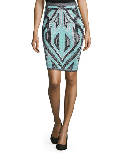 Jacquard Knit Pencil Skirt, Seafoam Combo