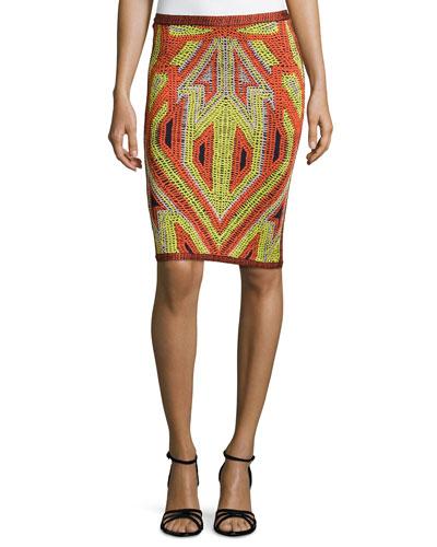 Jacquard Knit Pencil Skirt