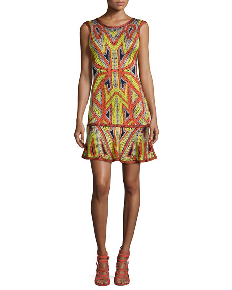 Herve Leger Sleeveless Jacquard Flutter-Hem Dress
