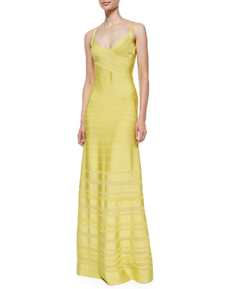 Herve LegerV-Neck Bandage Gown with Pointelle Insets