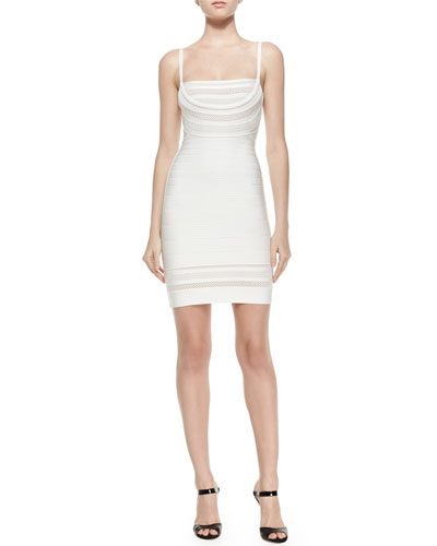 Sleeveless Lattice-Inset Bandage Dress