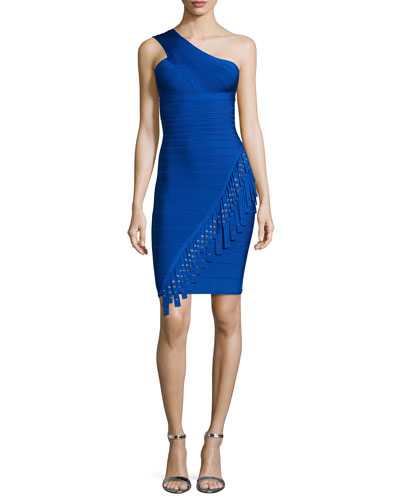 One-Shoulder Fringe Bandage Dress, Bright Blue