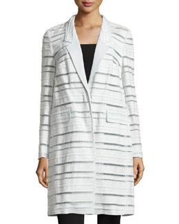 Long-Sleeve Woven-Stripe Coat, Opal
