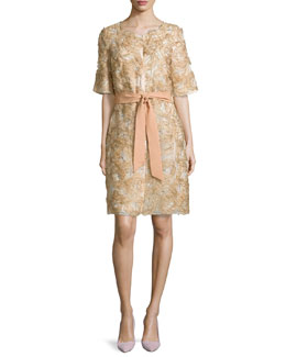 Half-Sleeve Floral-Applique Coat, Gold