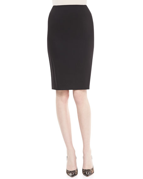 Neiman MarcusCrepe Pencil Skirt, Black