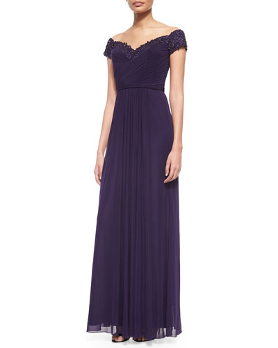Beaded-Trim Off-the-Shoulder Flowy Gown
