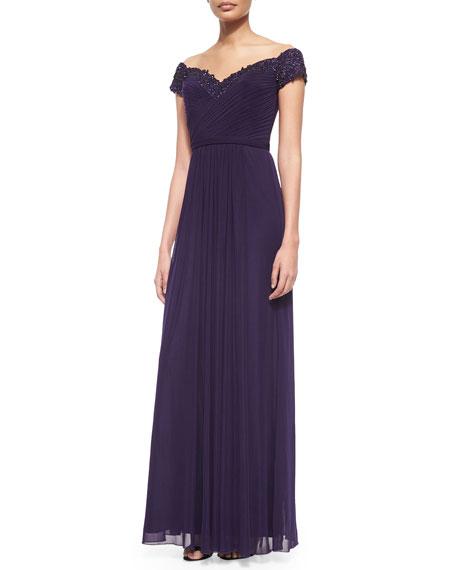 La Femme Beaded-Trim Off-the-Shoulder Flowy Gown