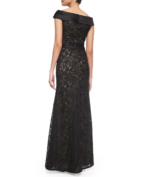 La Femme Off-the-Shoulder Lace Column Gown