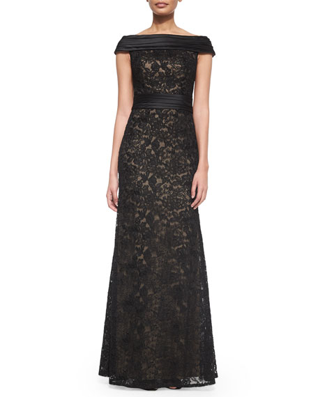 Off-the-Shoulder Lace Column Gown