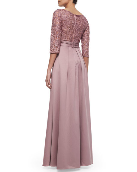 3/4-Sleeve Lace Bodice Full Skirt Gown