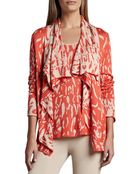 Neiman Marcus Reversible Animal-Print Cardigan & Tank Set