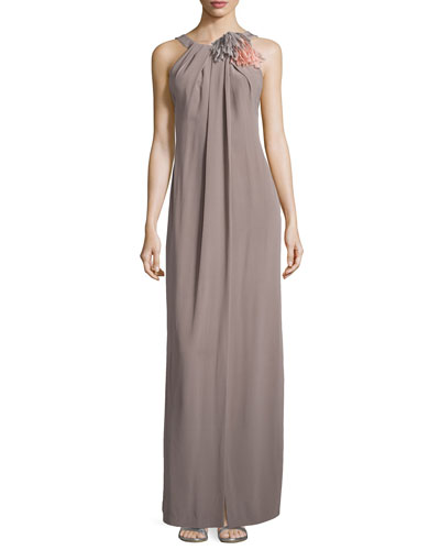 Sleeveless Halter-Neckline Gown, Shadow