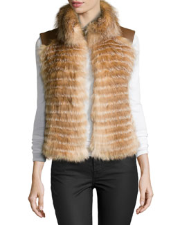 Feathered Fox Fur Vest, Crystal Fox/Luggage