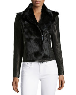 Long-Sleeve Fur Combo Jacket, Black
