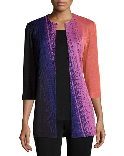 Colorful 3/4-Sleeve Long Jacket, Petite