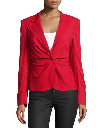 Long-Sleeve Ruched-Front Blazer, Lacquer