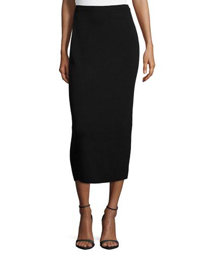 Washable Wool Midi Pencil Skirt, Black