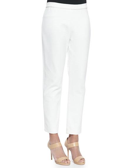 Joan Vass Ponte Slim Ankle Pants, Ivory, Petite