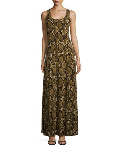 Tokara Python-Print Maxi Dress