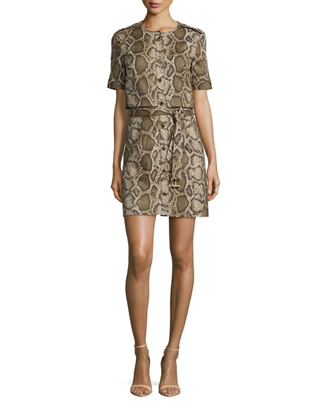 Columbia Python-Print Tie-Front Dress