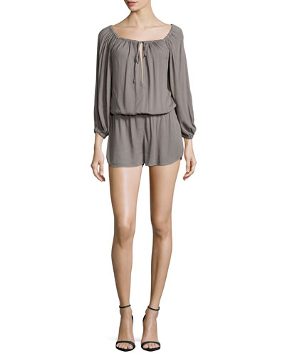 Bess 3/4-Sleeve Knit Romper, Olive