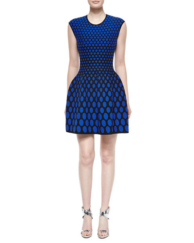 RVN Sleeveless Polka-Dot Fit-and-Flare Dress, Blue/Black